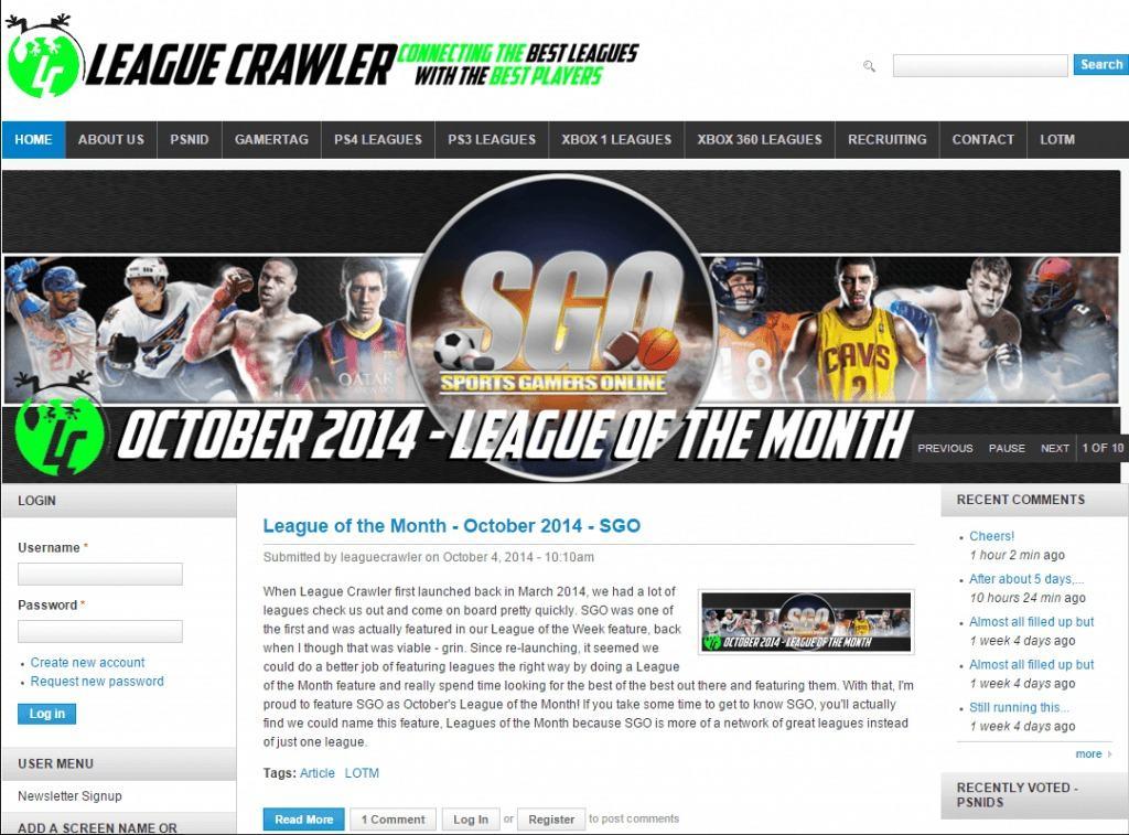 SGO league crawler