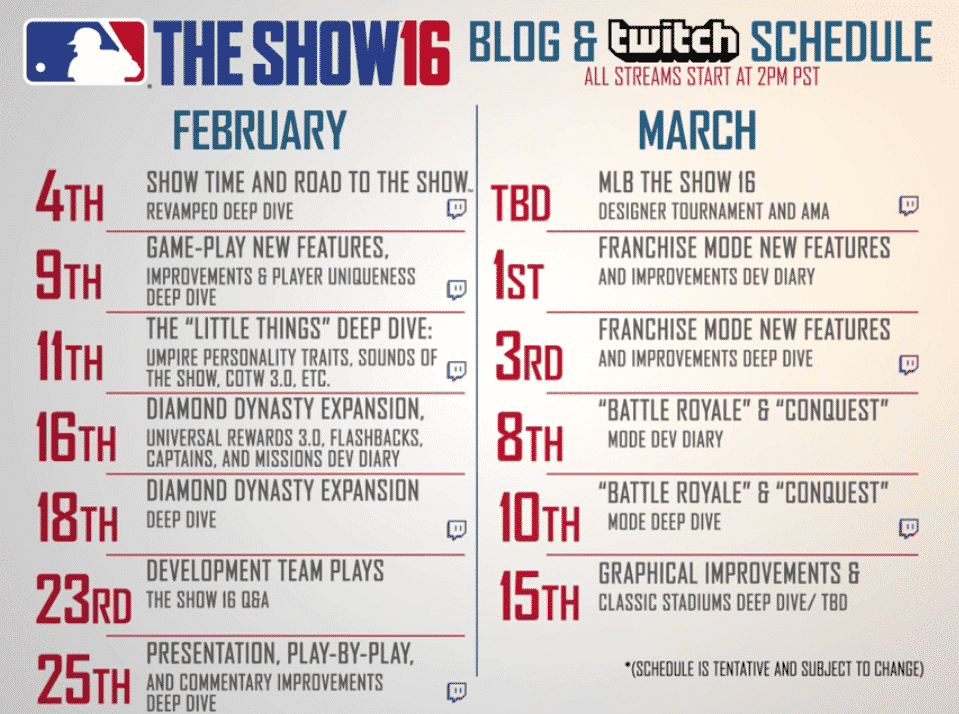 MLB The Show 16 Blog and Twitch Schedule
