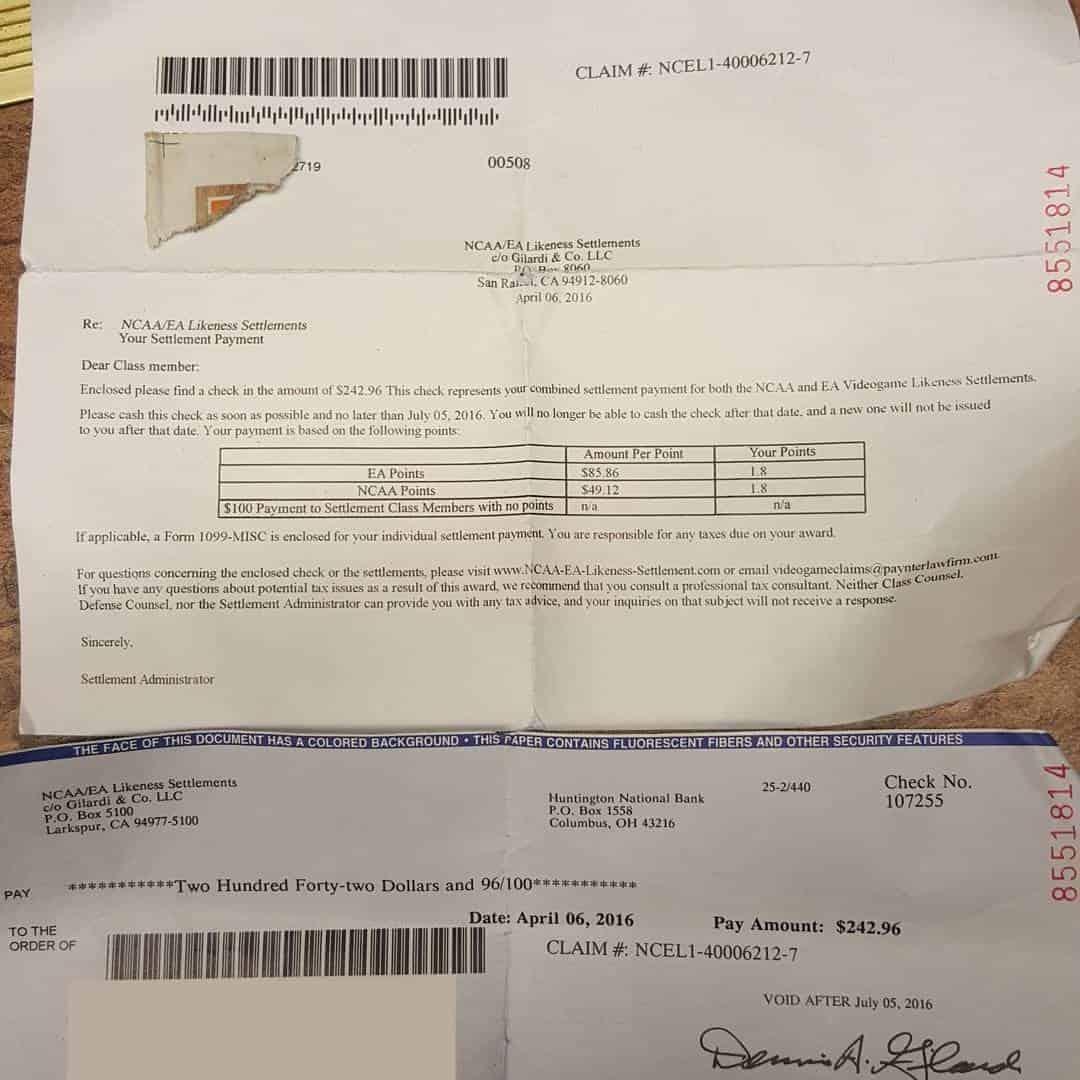 NCAA Settlement Check