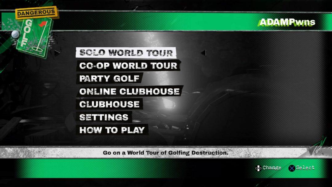 dangerous golf review main menu