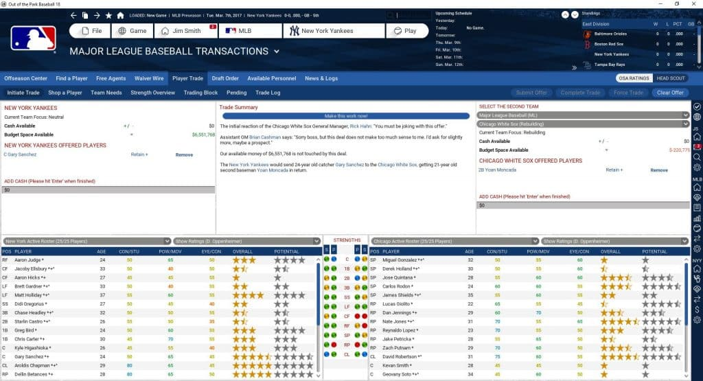 OOTP Trade Screen