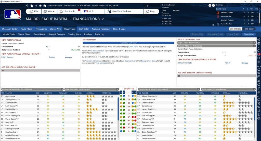 OOTP Trade Screen