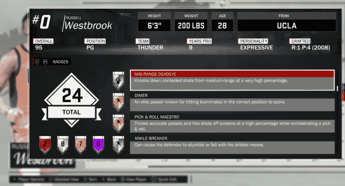 NBA 2K17 Official Badges Guide Westbrook