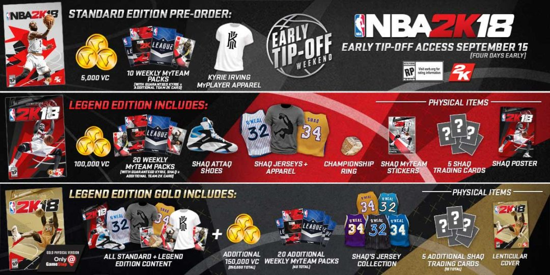 2k Has Upgraded The Pre Order Editions For Nba 2k18 Sports Gamers