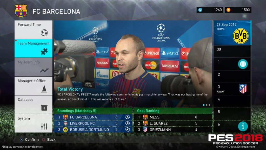 PES 18's Master League features several enhancements.