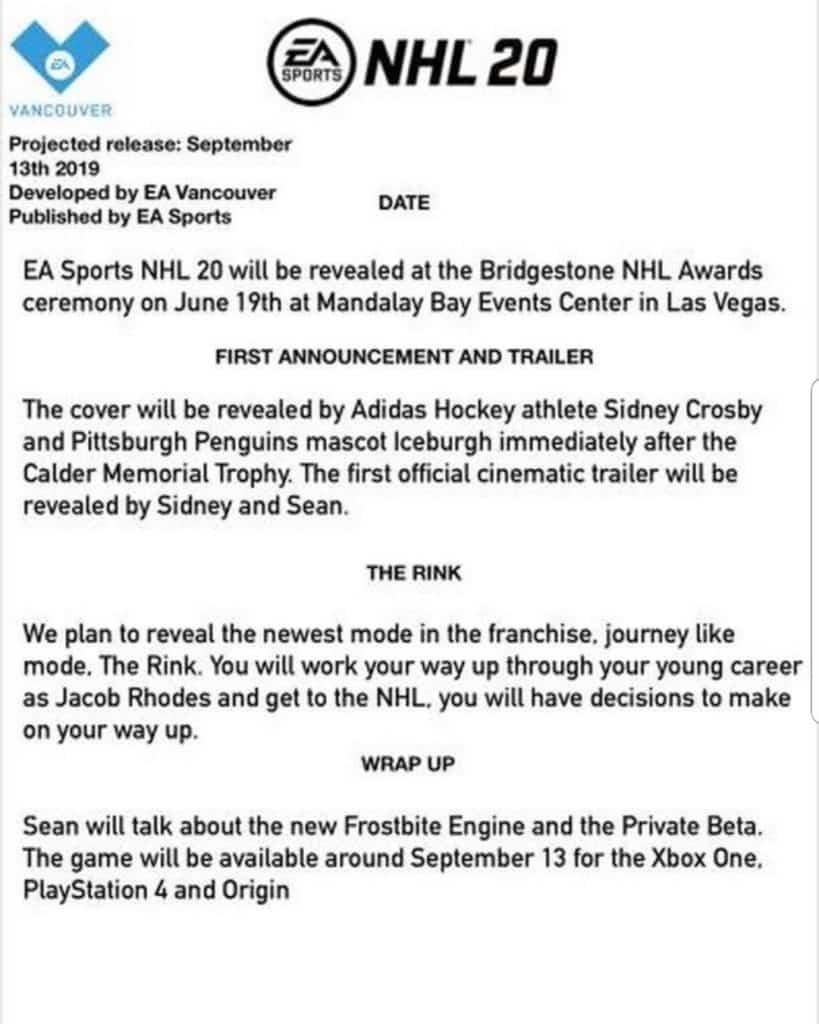 NHL 20 Leaks