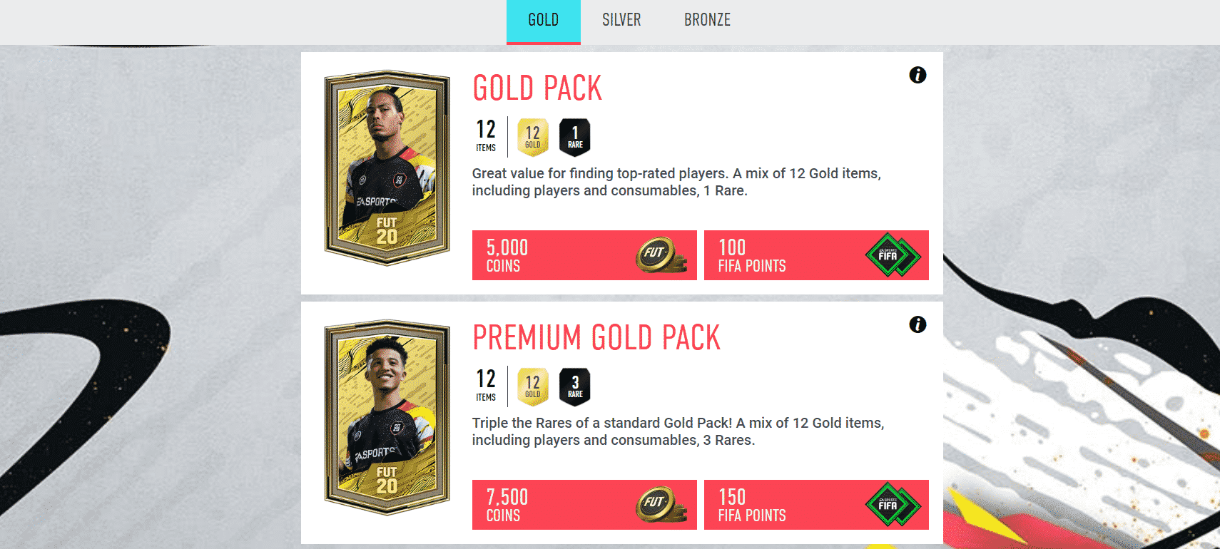 FUT Gold and Premium Gold Booster Packs