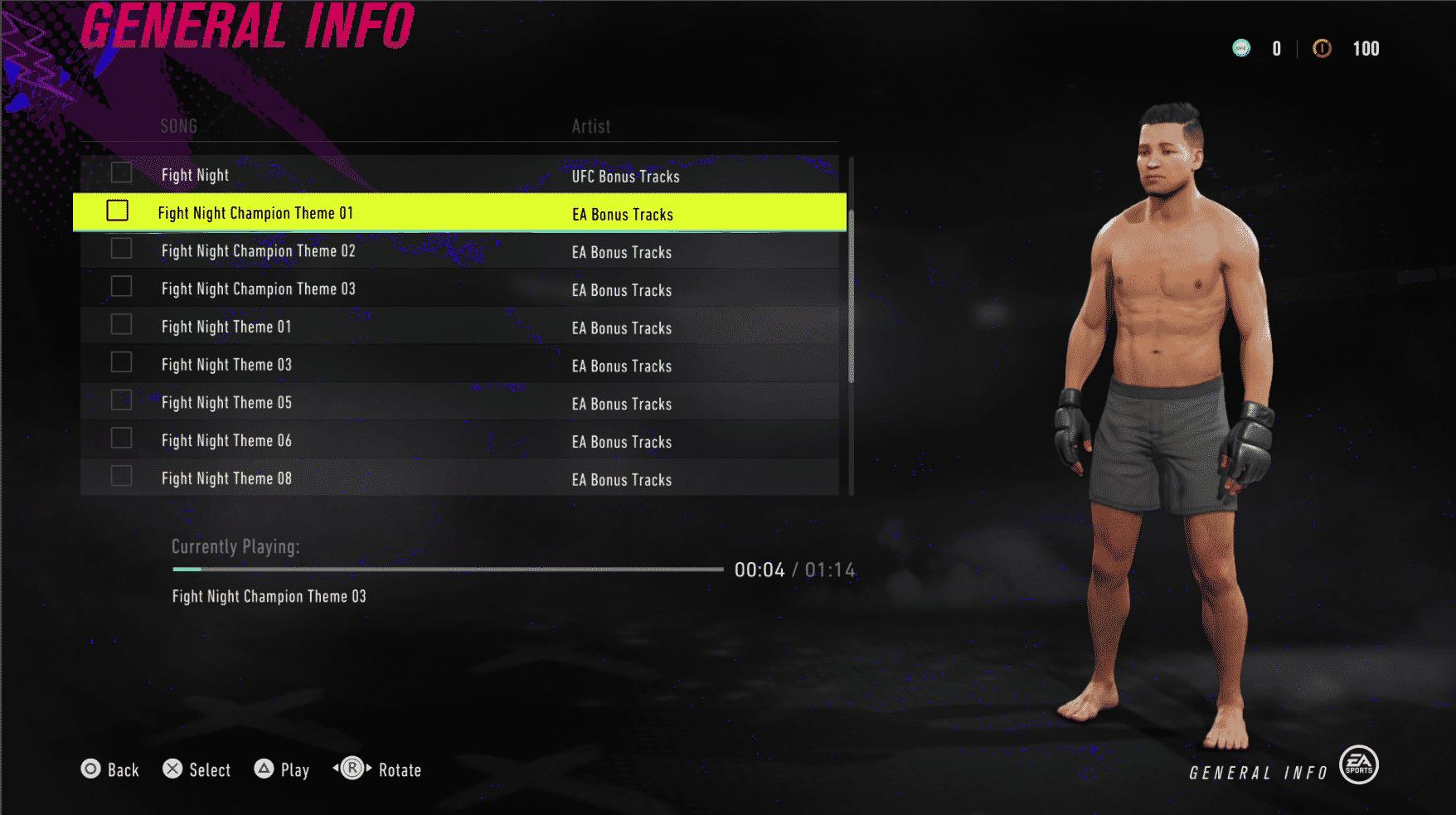 UFC 4 Theme selection